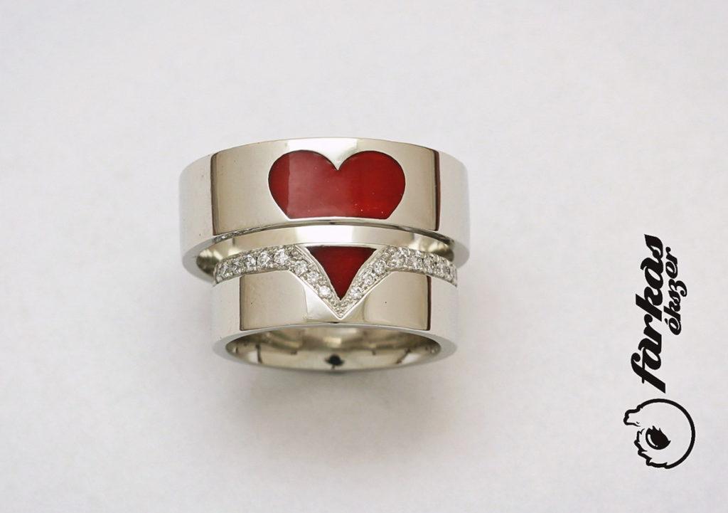 Platina karikagyűrűk, kerámiával és gyémántokkal 053.