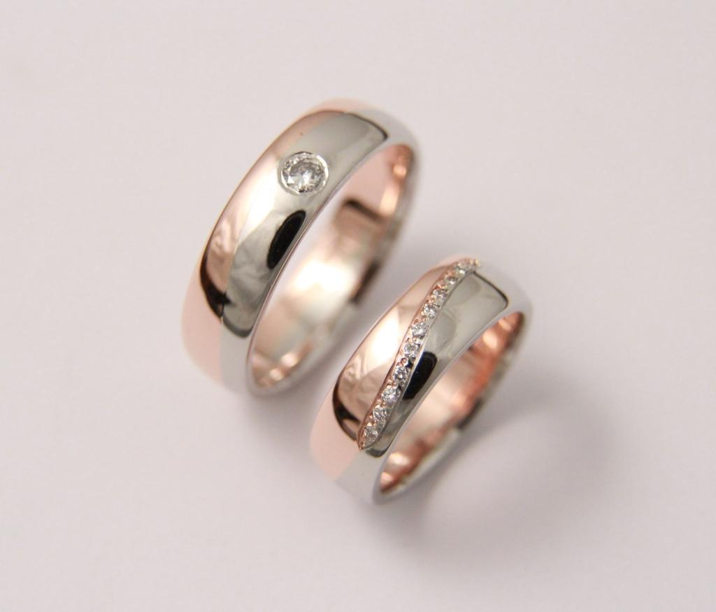 Platina-arany karikagyűrű gyémántokkal 028.