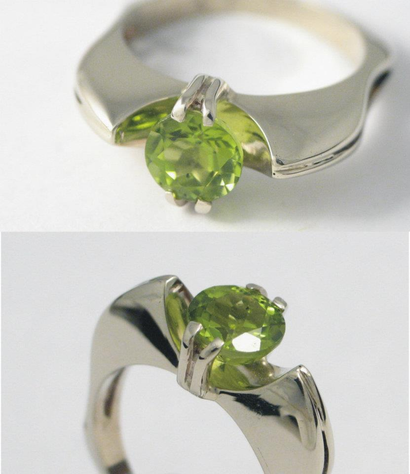 Fehérarany gyűrű olívinnel (peridot) 72.