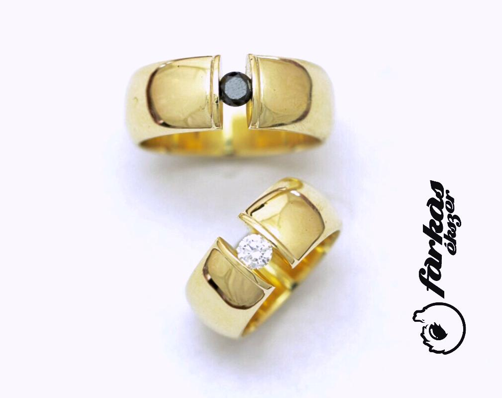Sárga arany karikagyűrűk gyémántokkal 101.