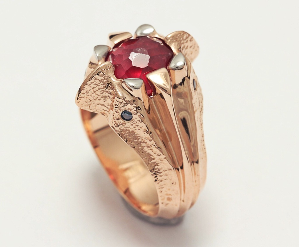 Arany gyűrű rubin kővel 056.