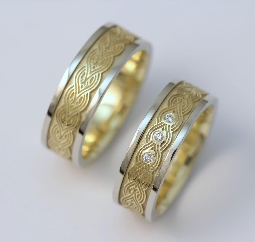 Arany-titán karikagyűrű gyémántokkal 059.