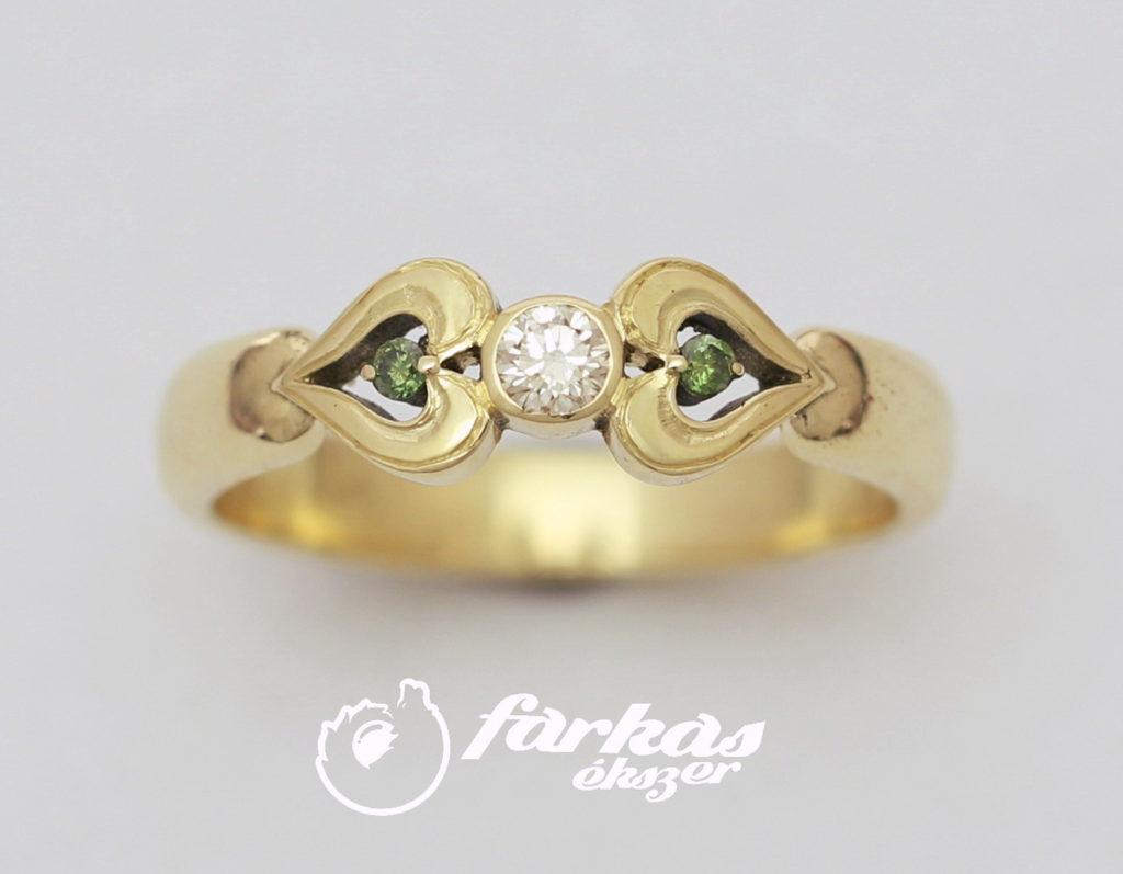Arany gyűrű fehér és zöld gyémántokkal 088.