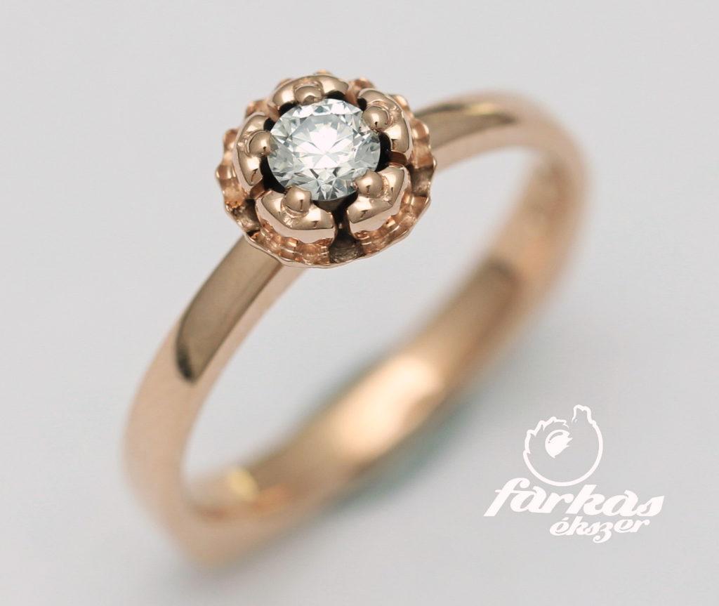 Vörös arany eljegyzési gyűrű gyémánttal A090.