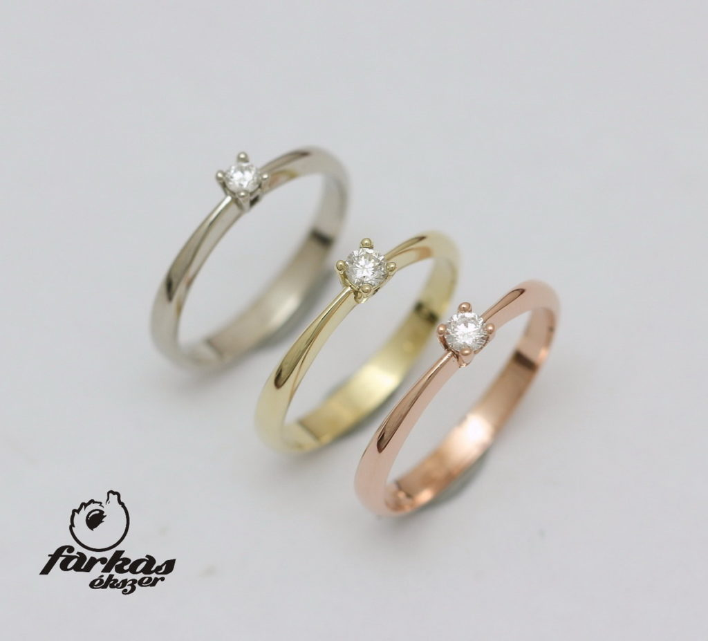 Fehér, sárga és vörös arany eljegyzési gyűrűk gyémántokkal 100.