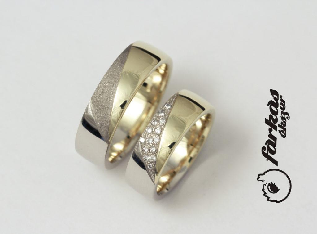 Fehér és sárga arany karikagyűrűk gyémántokkal 106.