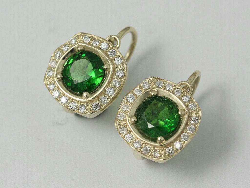 Arany fülbevaló smaragddal és gyémántokkal 048.
