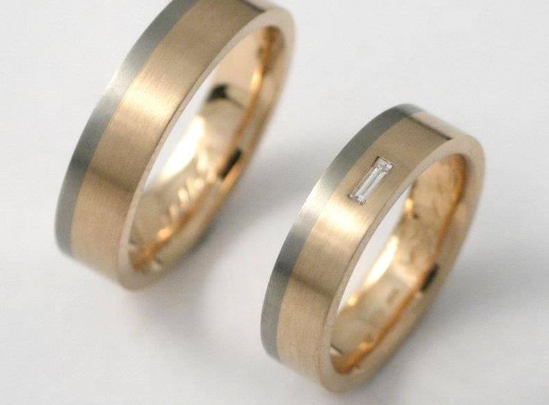 arany-titán karikagyűrű, gyémánttal 031.