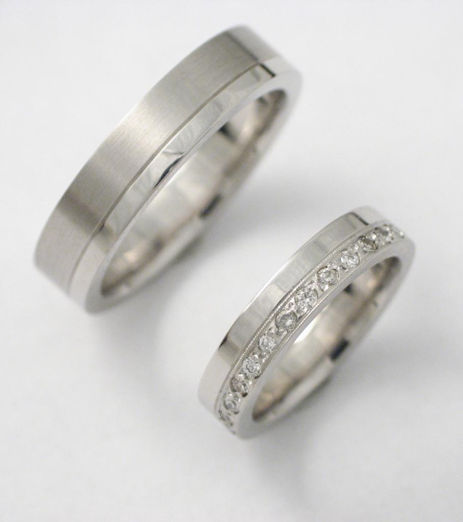Palládium karikagyűrű gyémántokkal 004.