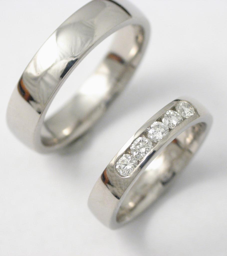 Palládium karikagyűrű gyémántokkal 005.