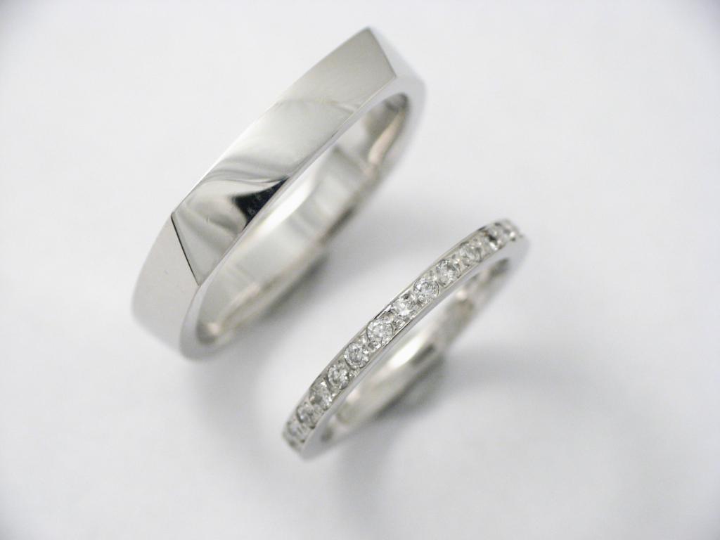 Palládium karikagyűrű gyémántokkal 006.