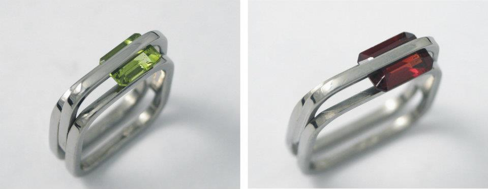 Titán gyűrű olívinnel; rubinttal 149.