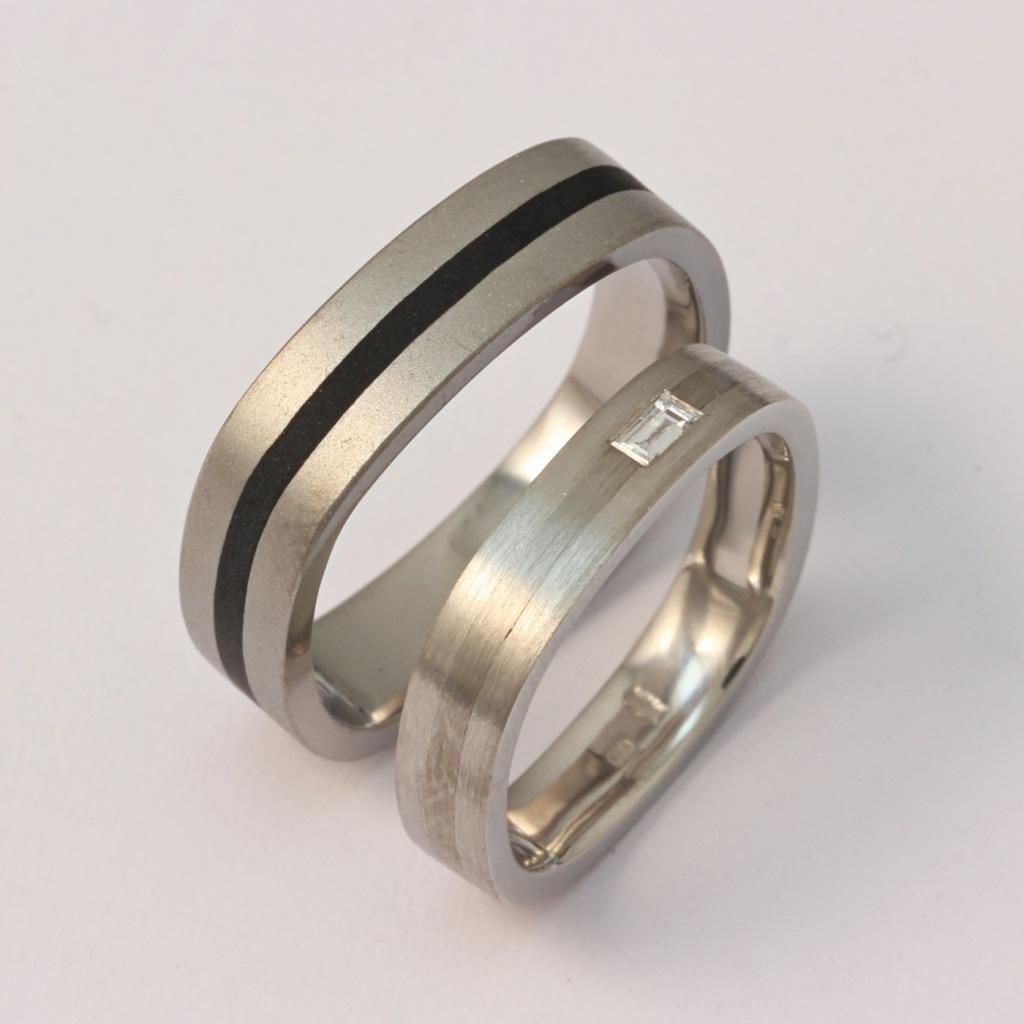 Palládium karikagyűrű titánnal, kerámiával és gyémánttal 022.