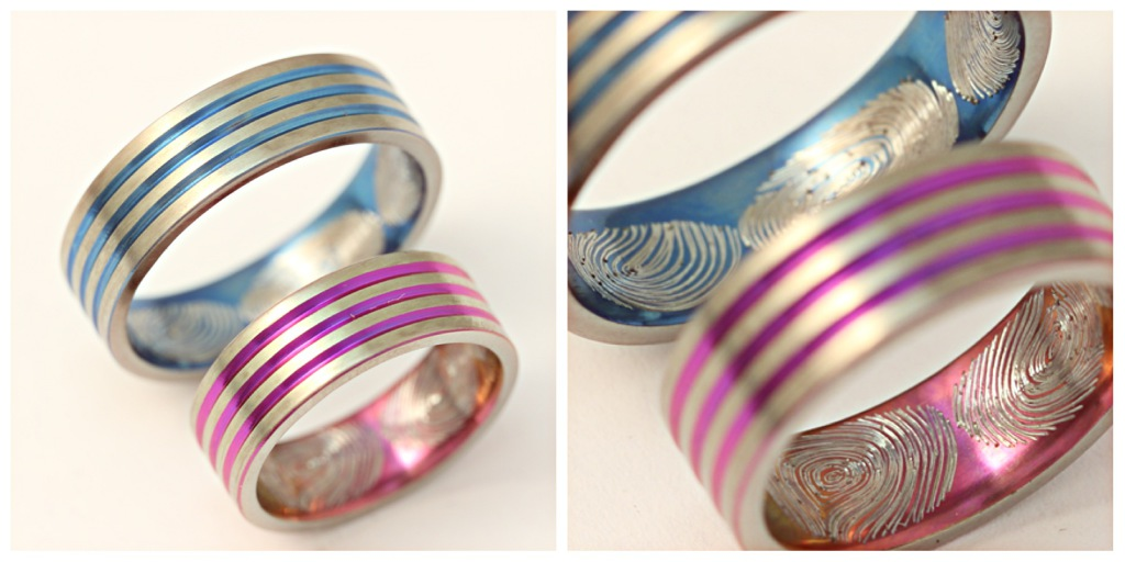 Színes (oxidált) titán karikagyűrű, belül ujjlenyomatokkal 140.