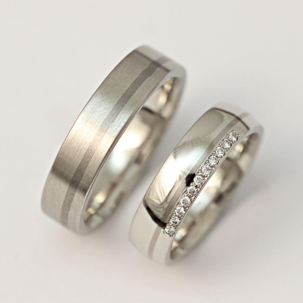 Palládium-titán karikagyűrű, gyémántokkal 023.