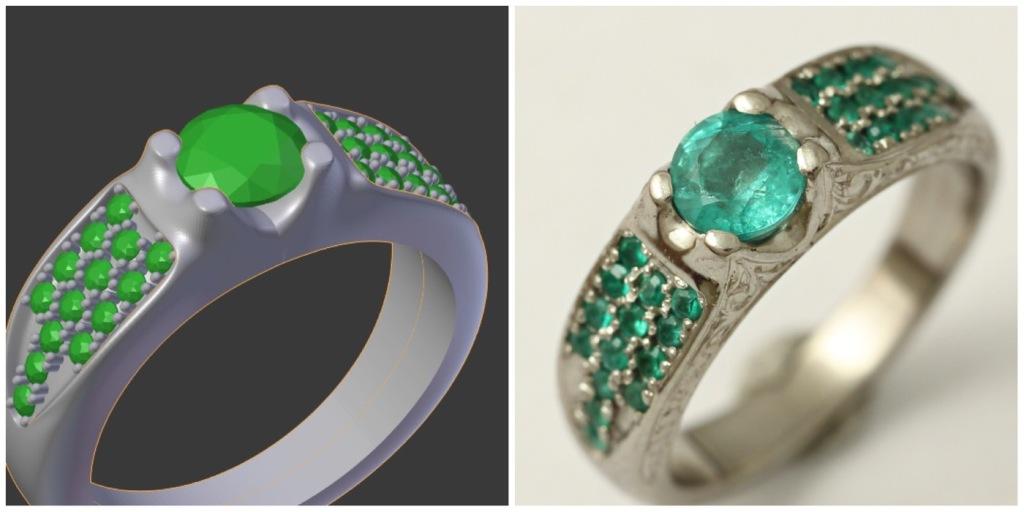 Palládium gyűrű smaragdokkal 025. (3D-s terv alapján)