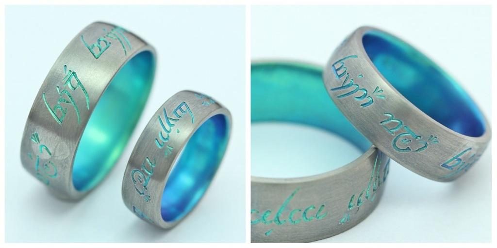 Vésett és színesre oxidált titán karikagyűrű 175.