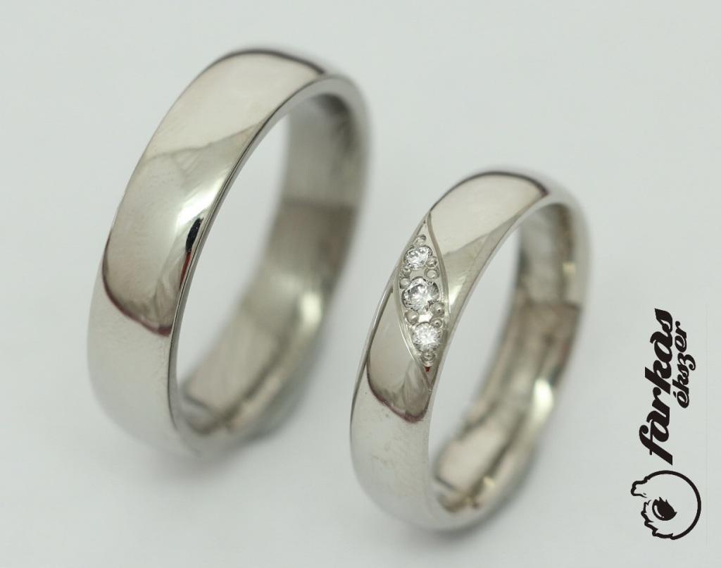 Palládium karikagyűrű gyémántokkal 032.