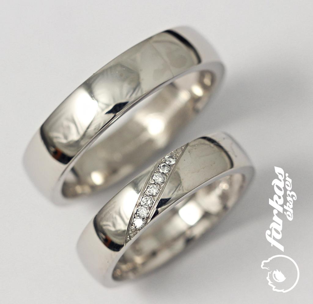 Palládium karikagyűrű gyémántokkal 033.