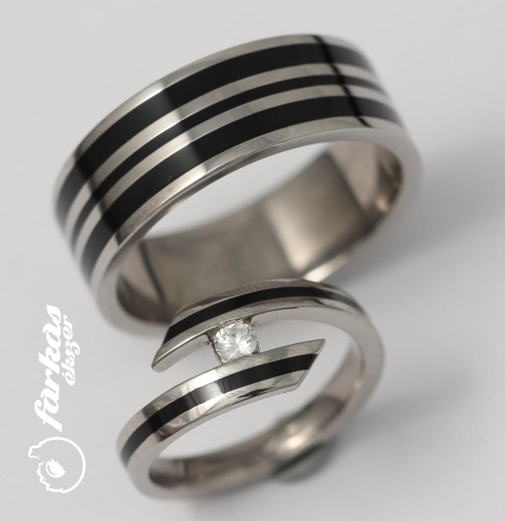 Titán karikagyűrű kerámiával és gyémánttal 181.