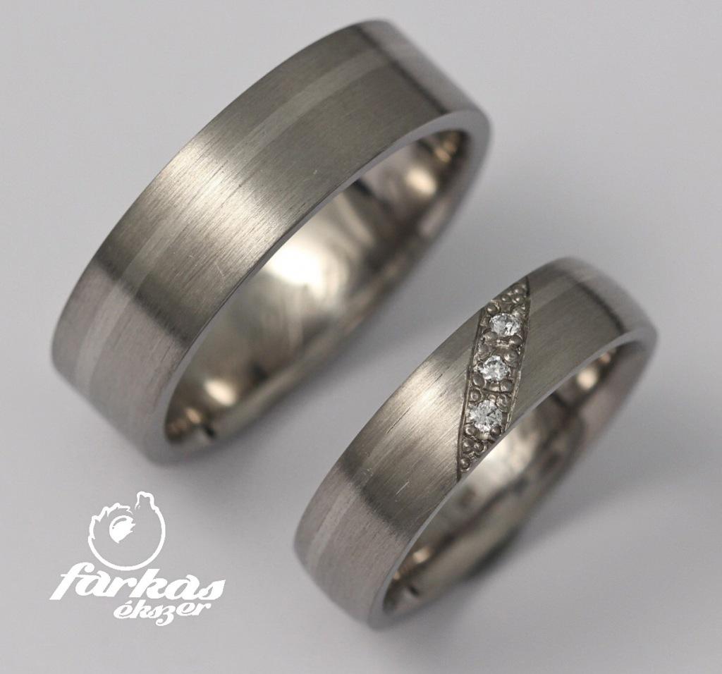 Titán - palládium karikagyűrű gyémántokkal 182.