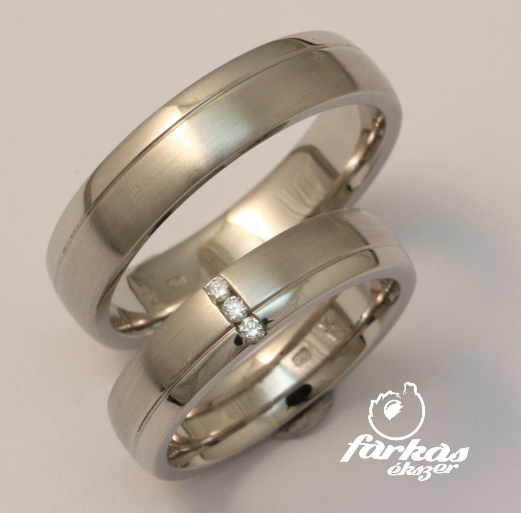 Palládium karikagyűrű gyémántokkal 034.