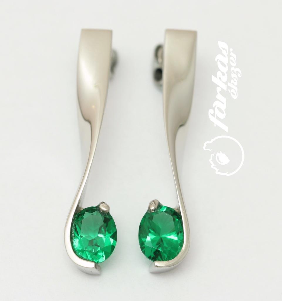 Palládium fülbevaló olivin kővel 035.