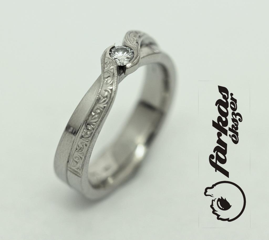 Palládium gyűrű gyémánttal 036.