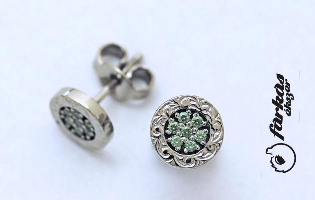 Palládium fülbevaló zöld gyémántokkal 041.