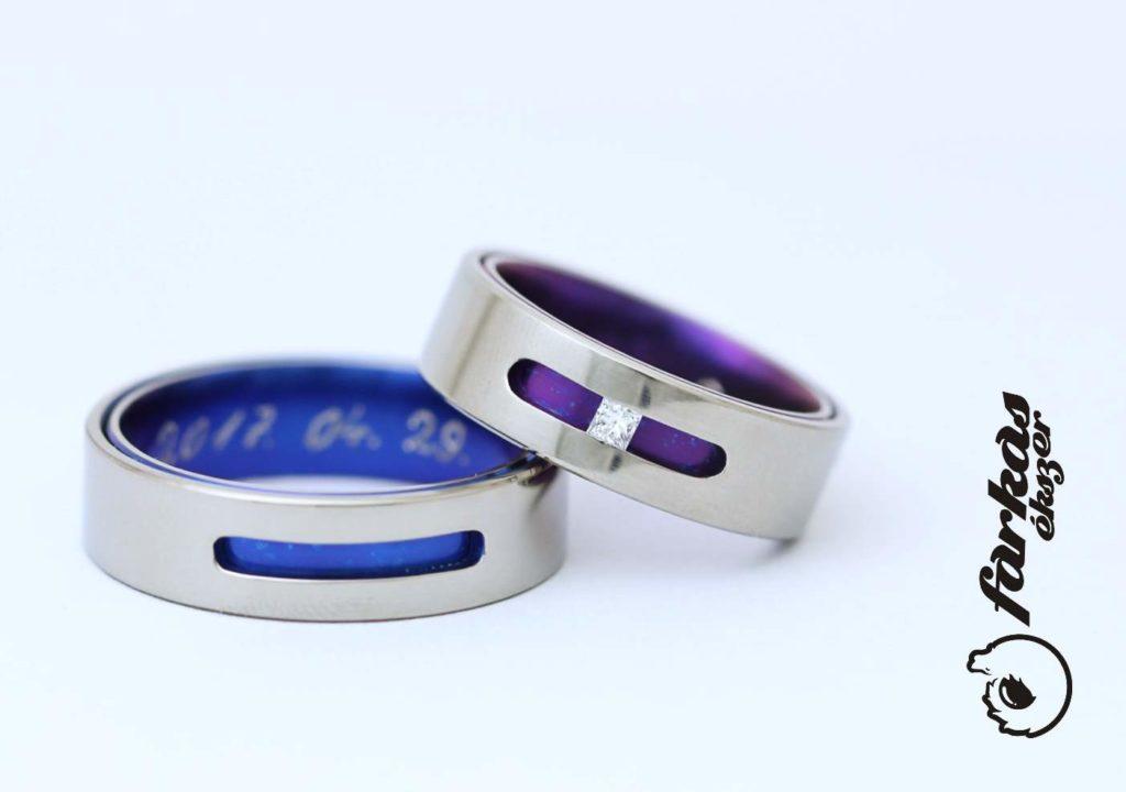 Oxidált titán karikagyűrűk, gyémánttal 214.