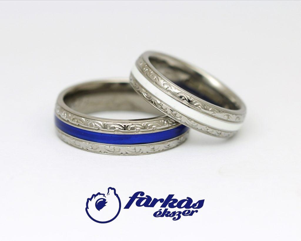 Vésett titán karikagyűrűk kerámiával 217.