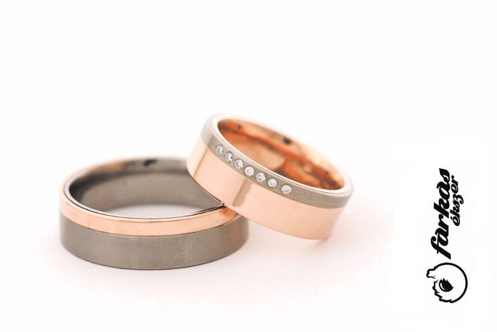 Titán-vörösarany karikagyűrű, gyémántokkal 218.
