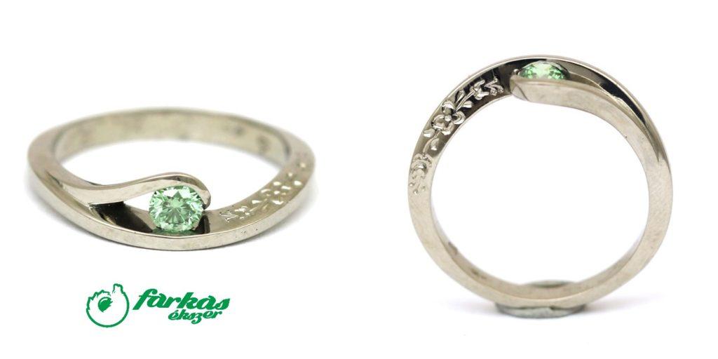 Vésett palládium gyűrű, zöld gyémánttal 43.