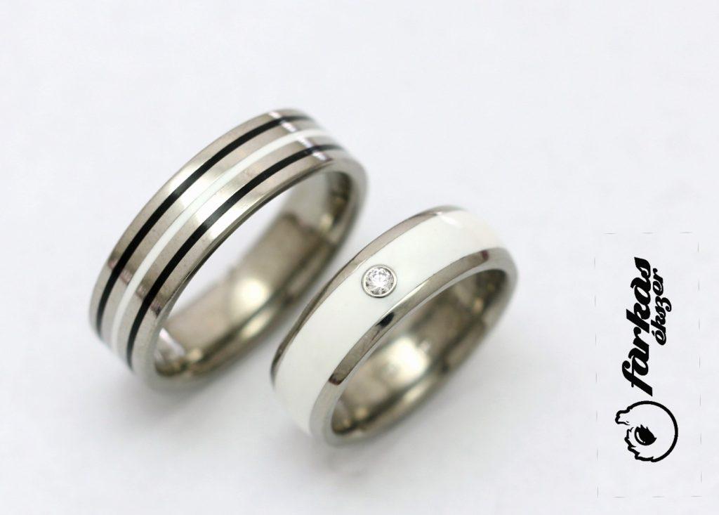 Titán karikagyűrű kerámiával és gyémánttal 219.