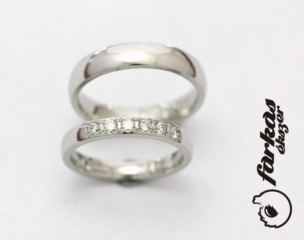 Palládium karikagyűrűk gyémántokkal 46.