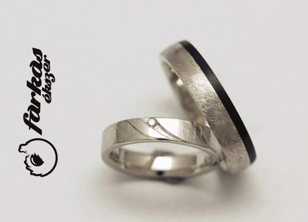 """""""Karcolt"""" felületű palládium-karbon karikagyűrűk gyémánttal 047."""