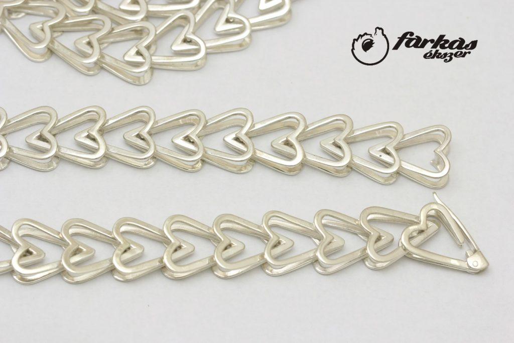 Szíves ezüst nyaklánc és karkötő 025.