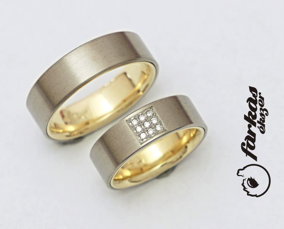Titán-arany karikagyűrűk gyémántokkal 260.