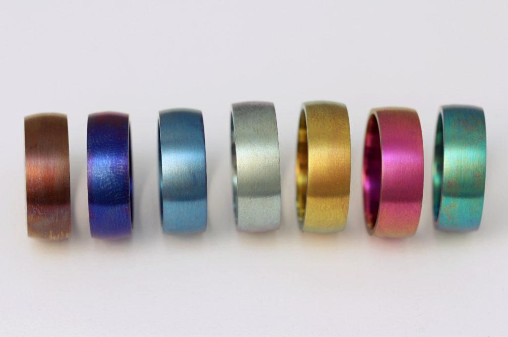 Oxidált titán gyűrűk lehetséges színei 000.
