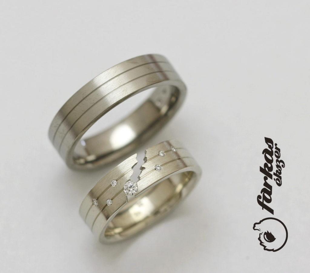 Titán és arany karikagyűrűk, gyémántokkal 228.