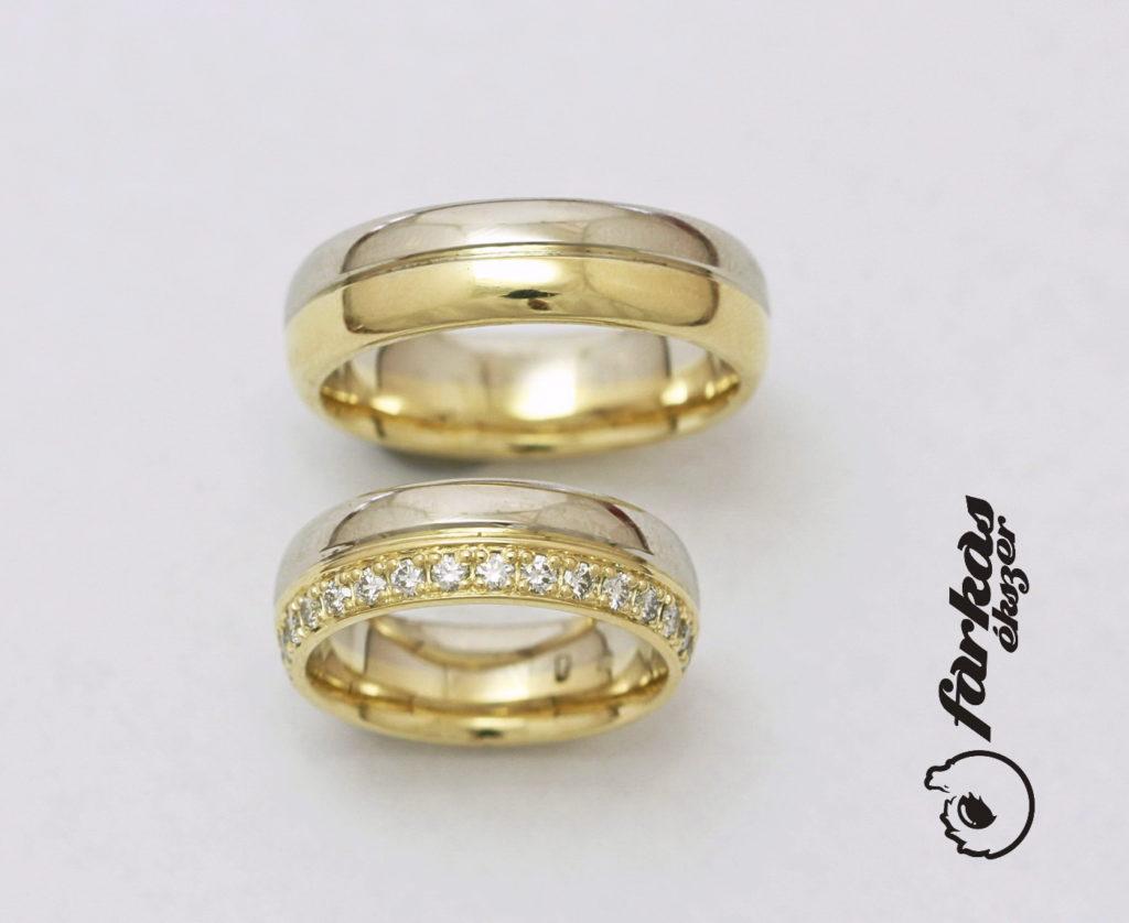 Sárga és fehér arany karikagyűrűk gyémántokkal 120.