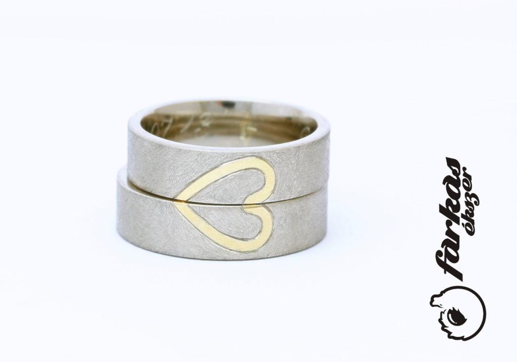 """""""Karcolt"""", szíves fehér és sárga arany karikagyűrűk 121."""
