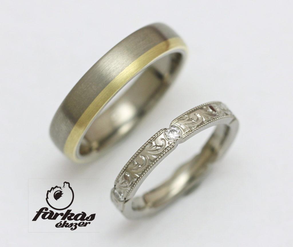 Titán-arany karikagyűrű gyémántokkal 195.