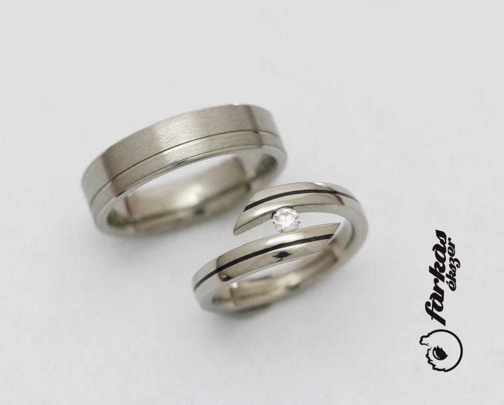 Titán karikagyűrűk, kerámiával és gyémánttal 270.