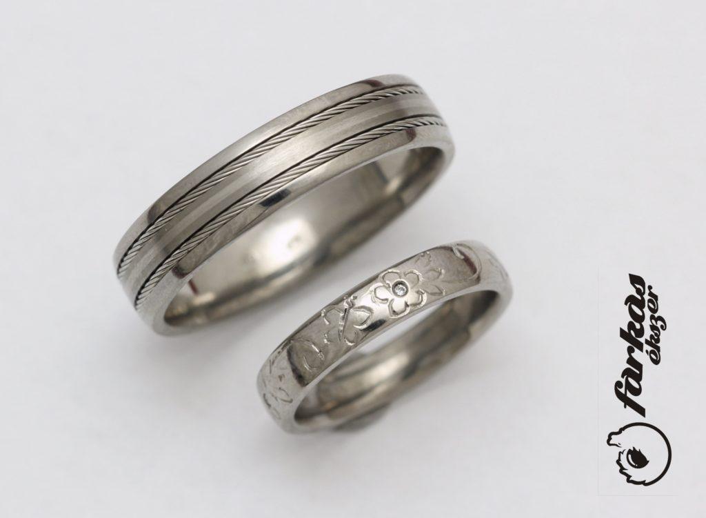 Titán karikagyűrű palládium intarziával és sodronnyal, vésett tián karikygyűrű gyémánttal 271.