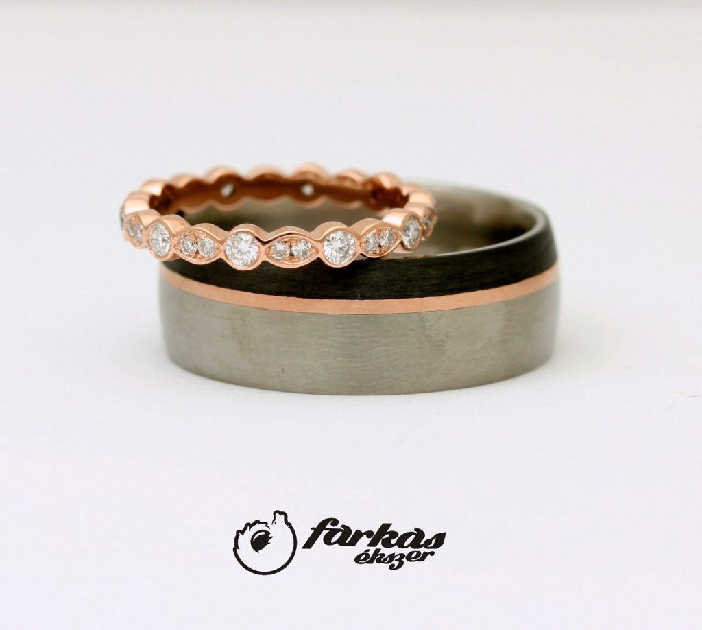 Vörösarany karikagyűrű körbe gyémántokkal, titán-arany-karbon karikagyűrű 124.