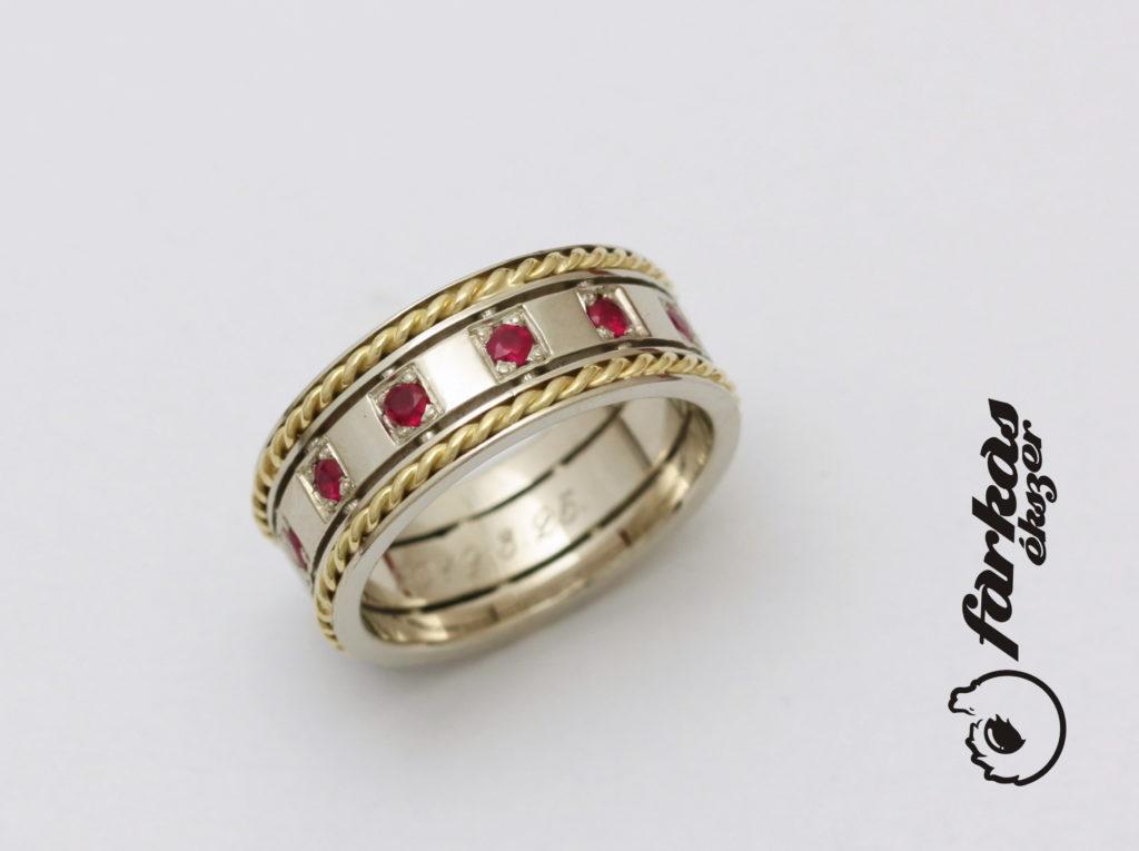Arany gyűrű, körbe rubin kövekkel 125.
