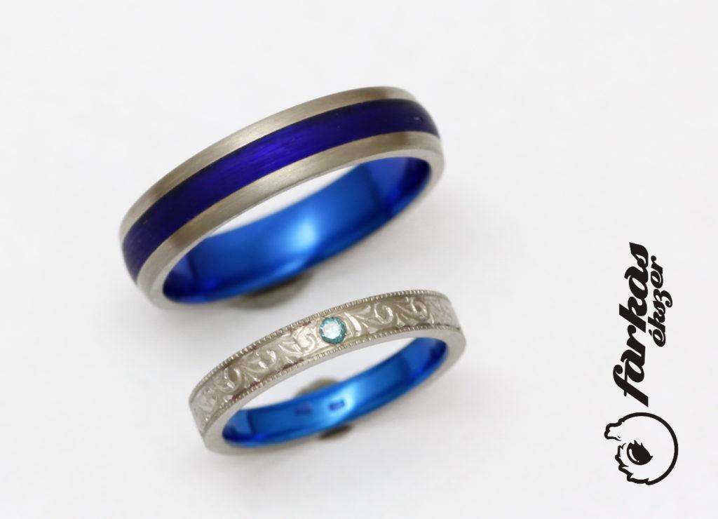 Titán karikagyűrűk, kék oxiddal, kék kerámiával, kék gyémánttal 277.