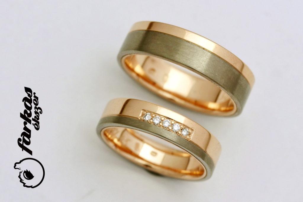 Arany-titán karikagyűrűk gyémántokkal 128.