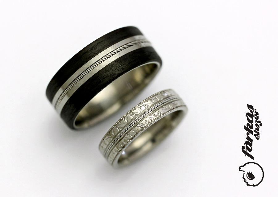 Titán-fekete karbon-sodrony karikagyűrűk 286.